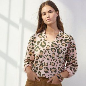 🆕Anthropologie Tomasa Cropped Leopard Hoodie S